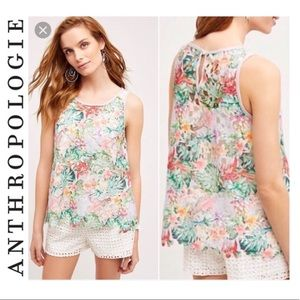 Anthropologie Inari Floral Fiore Cutout Tank Top